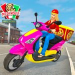 Moto Bike Pizza Delivery Girl Food Game 1.0 APK MOD Unlimited Money